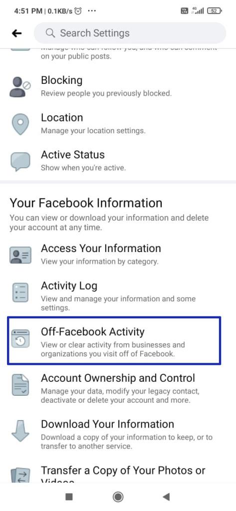 Click Off-Facebook Activity