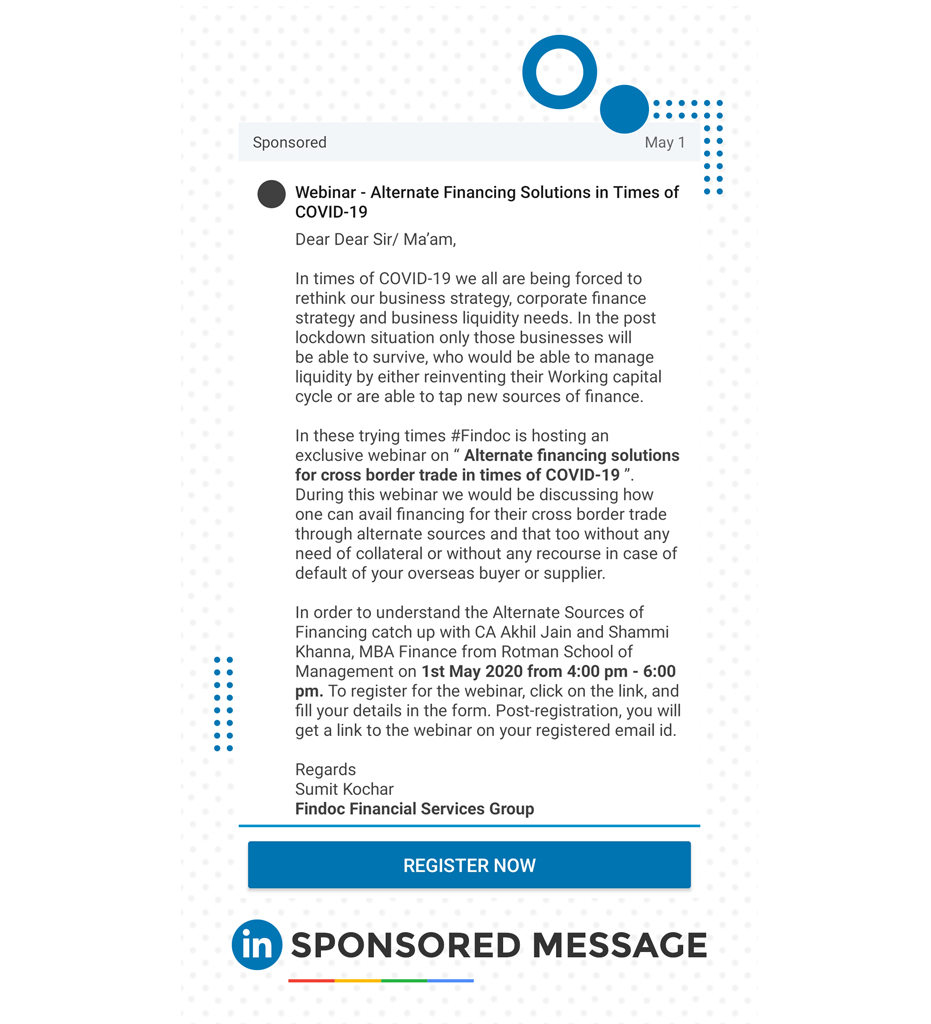 Linkedin sponsored message