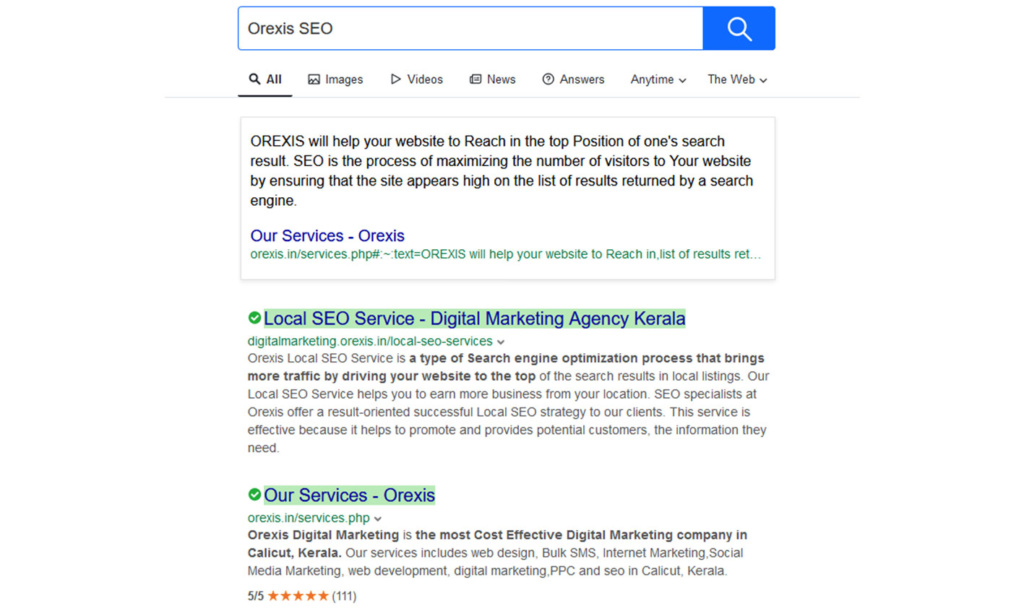 Orexis SEO Results